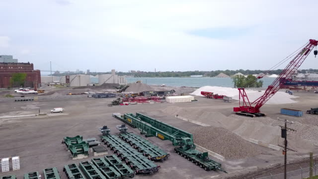 a sweeping drone view of a detroit iron and steel yard - classified ad stock videos & royalty-free footage