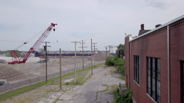 A Sweeping Drone View Of A Detroit Iron And Steel Yard