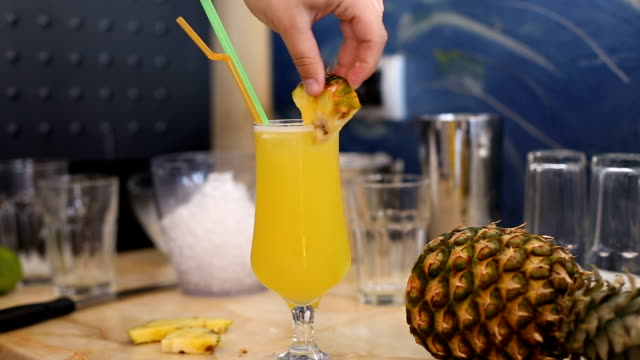 sweet cocktail with pineapple - pineapple stock videos & royalty-free footage