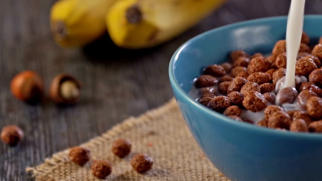 Sweet Cocoa Chocolate Sugar Cereal Puffs, Slow Motion