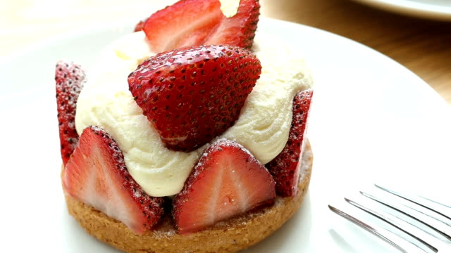 Sweet dessert with strawberry tart