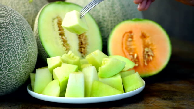 sweet melon in white dish