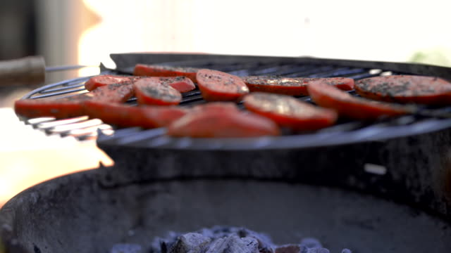 sweet potato on a open flame grill. - marinated stock videos and b-roll footage