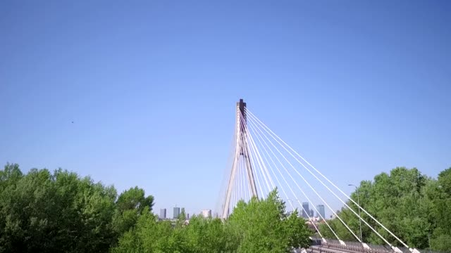 swietokrzyski bridge and panorama of warsaw - cable stayed bridge stock videos & royalty-free footage