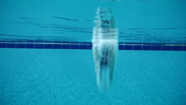 swimmer diving into a pool seen from underwater, seoul, south korea - diving into water stock videos & royalty-free footage