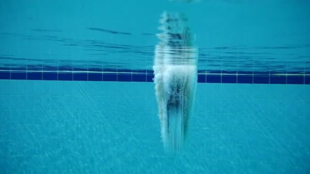 swimmer diving into a pool seen from underwater, seoul, south korea - undervattensdykning bildbanksvideor och videomaterial från bakom kulisserna