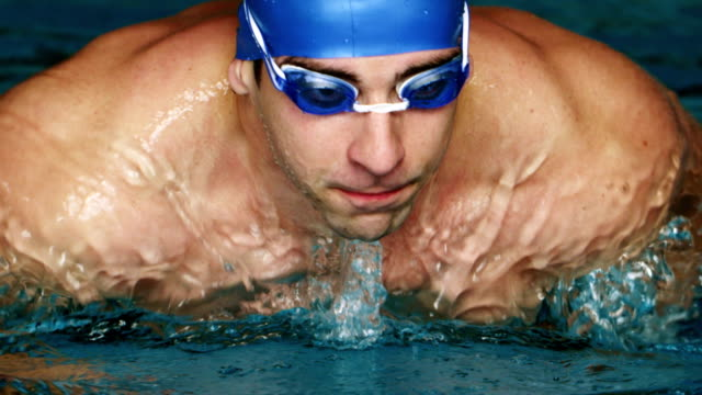 swimmer doing the butterfly stroke - butterfly stroke stock videos and b-roll footage