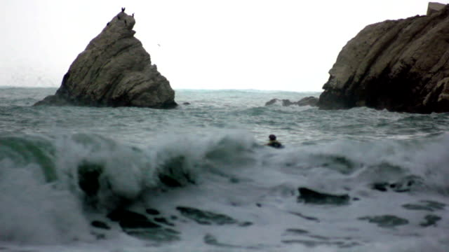 swimmer in the storm waves - struggle stock videos and b-roll footage