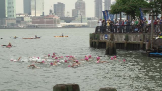 swimmers from around the world challenge themselves in the annual 30 mile circuit of manhattan island start from the battery - salmini 個影片檔及 b 捲影像