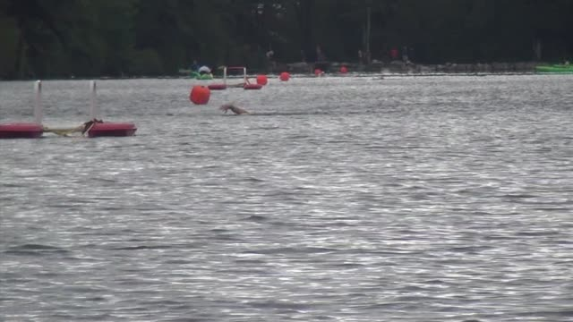 swimmers in lake head to camera triathlon - new paltz stock videos and b-roll footage