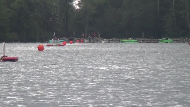 swimmers on far side of lake head to camera - new paltz stock videos and b-roll footage
