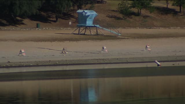 swimming banned at castaic lake due to california drought - castaic lake stock videos and b-roll footage