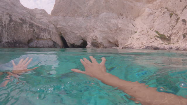 vidéos et rushes de swimming from personal perspective in the turquoise waters and white cliffs of greece. - personal perspective