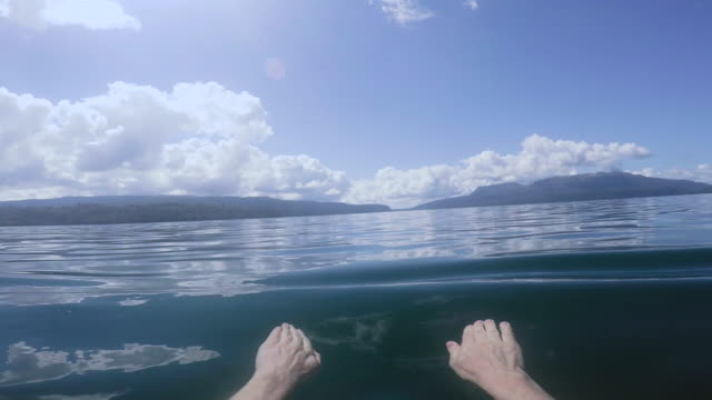 POV Swimming in Lake stabilized