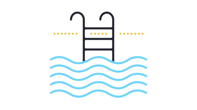 swimming line icon animation - climate icon stock videos & royalty-free footage
