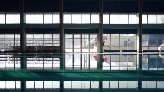 swimming pool and big windows - standing water stock videos & royalty-free footage