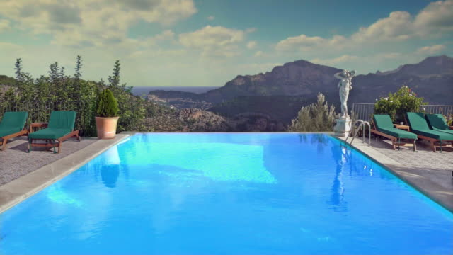 ms, ha, swimming pool and hills in background, formentor, majorca, spain - infinity pool stock videos & royalty-free footage