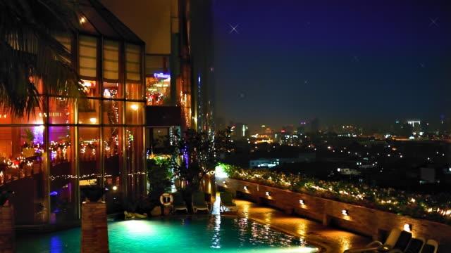 swimming pool at night - tourist resort stock videos & royalty-free footage
