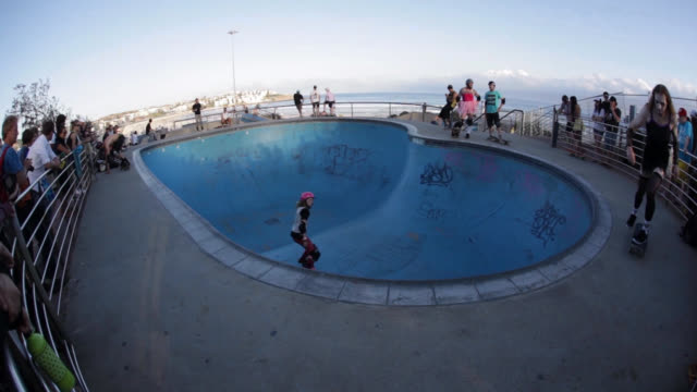 Swimming pool converted to skate park at Bondi beach in Sydney, New South Wales, Australia