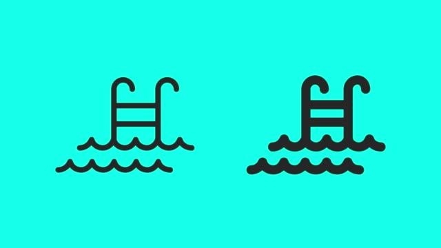vídeos de stock e filmes b-roll de swimming pool icons - vector animate - lago