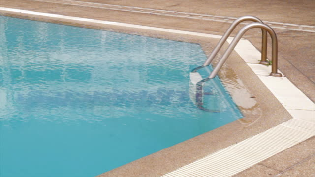 Swimming Pool Ladders Panning Shot
