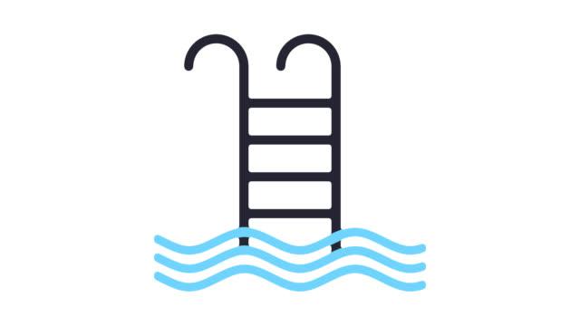 stockvideo's en b-roll-footage met zwembad lijn pictogram animatie met alpha - buitenbad