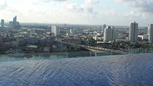 vídeos de stock, filmes e b-roll de piscina no telhado em bangkok, tailândia - telhado