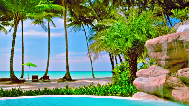 Swimming pool on the tropical beach
