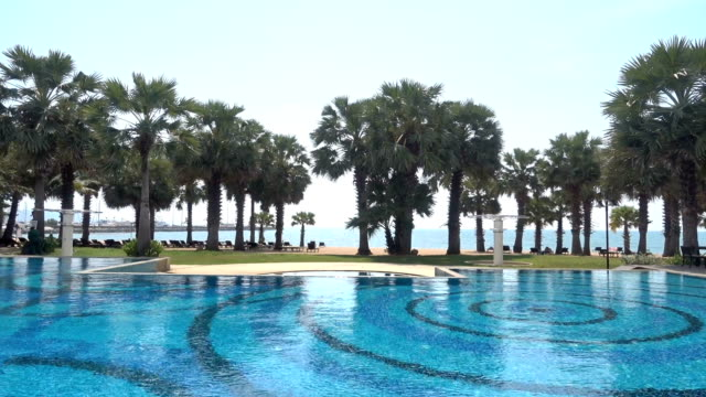 Swimming pool with tropical palm tree and beach
