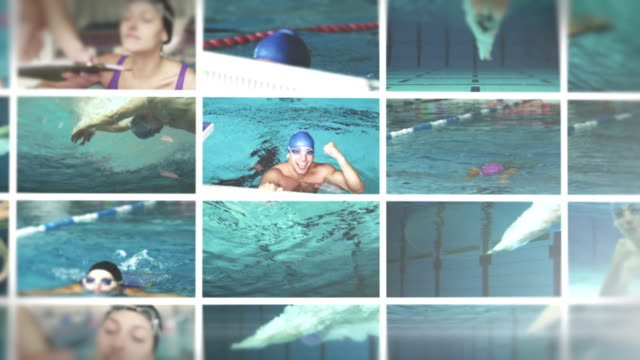 swimming video wall - video wall stock videos & royalty-free footage