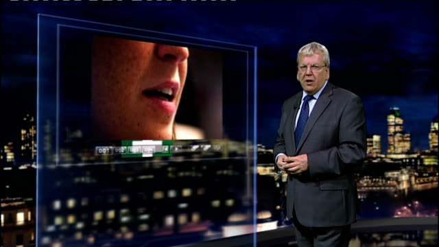 stockvideo's en b-roll-footage met swine flu continues to spread worldwide dr john mccauley interview sot reporter to camera with video wall - varkensgriep