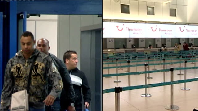 stockvideo's en b-roll-footage met swine flu continues to spread worldwide; england: location unknown: int split screen passengers returning from mexico / empty check-in desks for... - varkensgriep