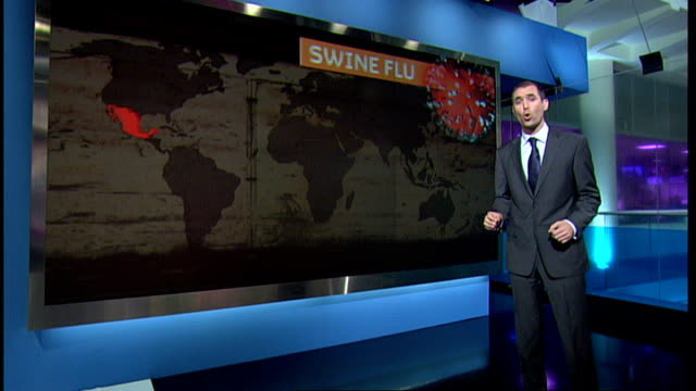 stockvideo's en b-roll-footage met swine flu continues to spread worldwide london gir reporter to camera with graphics on screen behind - varkensgriep