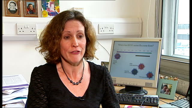 vídeos de stock, filmes e b-roll de swine flu may not become the fatal pandemic feared england int professor wendy barclay setup shot / interview sot - gripe suína