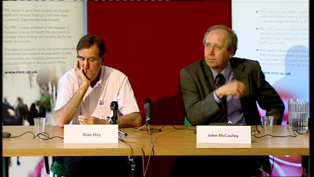 first human to human case in uk london mill hill national institute of medical research alan hay and john mccauley at world health organisation press... - influenza a virus stock videos & royalty-free footage
