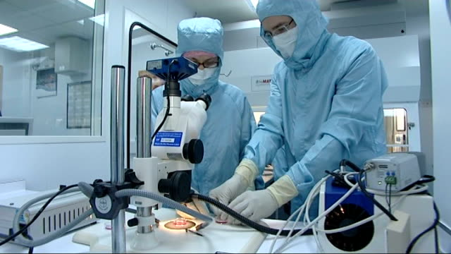 stockvideo's en b-roll-footage met results of independent review published; location unknown: laboratory technicians wearing protective body suits handling petri dish containing swine... - varkensgriep