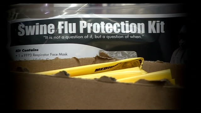 results of independent review published; tx 29.4.2009 / t29040902 england: shropshire: telford: int graphicised seq swine flu protection kits being... - epidemic stock videos & royalty-free footage