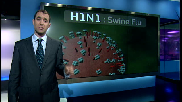 stockvideo's en b-roll-footage met two cases confirmed in scotland; gir: int reporter to camera with video wall graphics explaining h1n1 swine flu virus - varkensgriep