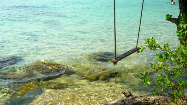 Schaukel hängen Grossbaum über Strand Meer