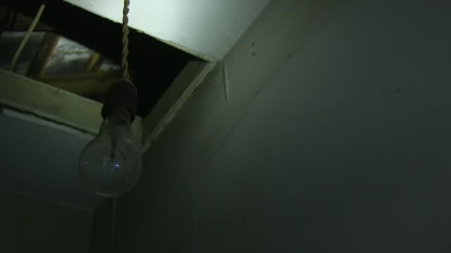 A swinging light bulb shot