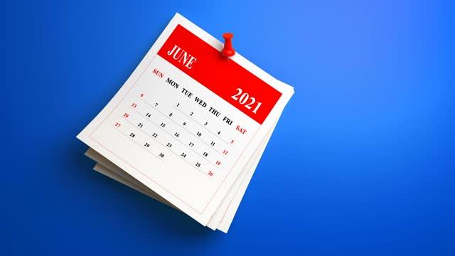 青の背景に3dスイングループ2021カレンダー - 六月点の映像素材/bロール