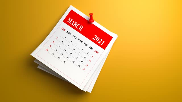 swinging loop march 2021 year calendar animation on yellow background - month stock videos & royalty-free footage