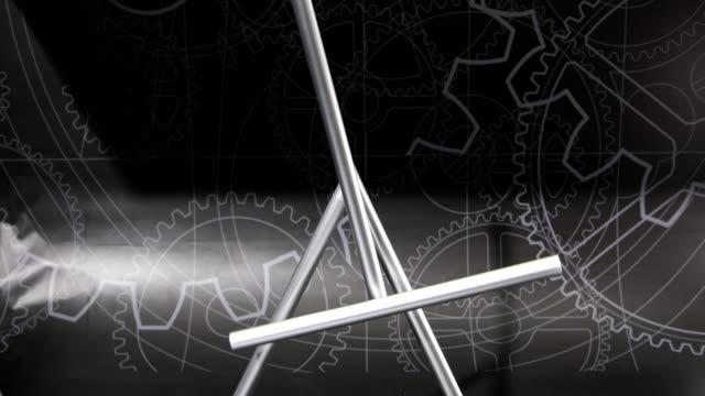swinging sticks perpetual motion machine - trigonometrie stock-videos und b-roll-filmmaterial