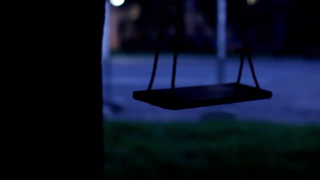 vídeos de stock e filmes b-roll de balanço balanço pendurado na árvore - equipamento de parque infantil