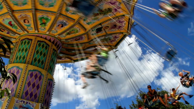 Swings Amusement Park Scene