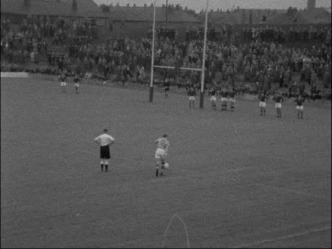 swinton v wigan opening match of 1957/58 season england swinton station road ground ext highlights from rugby league match between swinton and wigan... - sports round stock videos & royalty-free footage