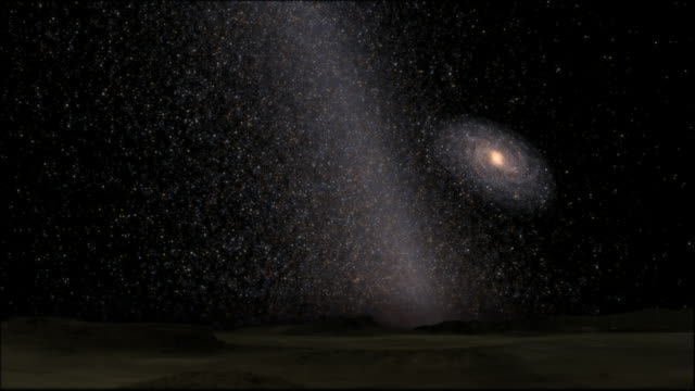 Swirling mass of stars as Milky Way and Andromeda merge