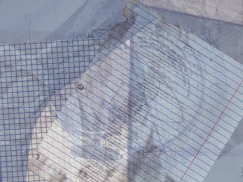 CU CGI Swirling montage of educational symbols