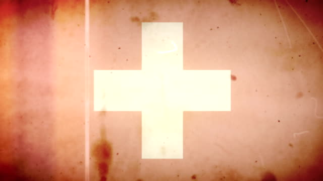 Swiss Flag - Grungy Retro Old Film Loop with Audio