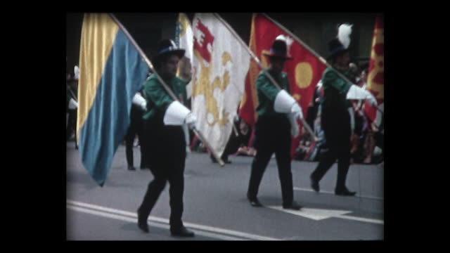 1964 Swiss flags, band and period costume parade